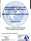 Proceedings Of The Beva Specialist Days On Behaviour And Nutrition Book PDF