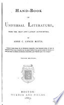 Handbook of Universal Literature  from the Best and Latest Authorities Book PDF