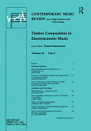 Timbre Composition in Electroacoustic Music