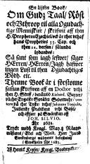 En lijten Book  om Gudz  Taal  R  st och Vthroop til alla ogudachtige Menniskior     verterat p   thet Tyske  vthaf Johanne Tonjola     och affsatt p   Sw  nskan aff Joh  Silvio