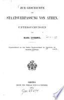 Zur Geschichte Der Staatsverfassung Von Athen