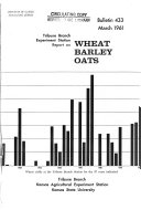 Tribune Branch Experiment Station Report on Wheat  Barley  and Oats