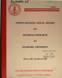 Twenty seventh Annual Report on Materials Research at Stanford University  March 1  1987   December 31  1987