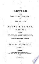 Letter     to the Editor of the Council of Ten  in answer to his remarks and misrepresentations respecting the mission of Joanna Southcott Book