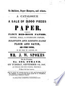 To Builders Paper Hangers And Others A Catalogue Of A Sale Of 3 000 Pieces Of Paper