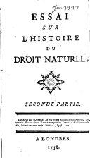 Essai sur l'histoire du droit naturel;.