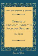Notices Of Judgment Under The Food And Drug Act