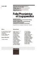 Folia Phoniatrica Et Logopaedica Book