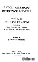 LABOR REALTIONS REFERENCE MANUAL