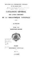Catalogue Générale Des Livres Imprimés