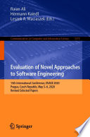 Evaluation of Novel Approaches to Software Engineering Book