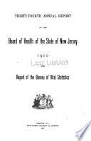 Annual report of the Department of Health of the State of New Jersey  1910