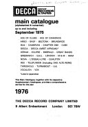Decca Group Records & Tapes Main Catalogue