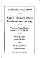 Annual Report of South Dakota State Horticultural Society Book PDF
