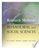 Research Methods For The Behavioral And Social Sciences PDF