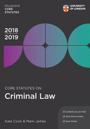 Core Statutes on Criminal Law 2018 19