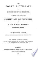 The Cook s Dictionary  and House keeper s Directory Book PDF