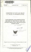 Subcommittee Recommendations Related to the Fiscal Year 1988 Budget Resolution Reconciliation Instructions