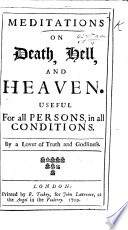 Meditations on Death  Hell  and Heaven     By a Lover of Truth and Godliness Book