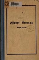 Albert Thomas, 1878-1932