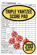 200 TRIPLE Yahtzee Score Pads for TRIPLE Yahtzee