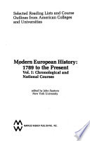 Modern European History, 1789 to the Present: Chronological and national courses