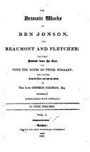 The Dramatic Works of Ben Jonson  and Beaumont and Fletcher