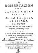 Dissertación sobre las letanias antiguas de de la Iglesia de España...