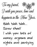 To My Friend, I Wish You Peace, Love And Happiness In The New Year. Blah Blah BlahScrew That! I Wish You Lots Of Money, Orgasms And Nights Out Partying