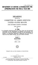 108 1 Hearing  Department of Defense Authorization For Appropriations For Fiscal Year 2004  S  Hrg  108 241  Part 2  April 1  2003