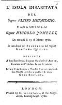L'Isola disabitata del [or rather, altered from] Signor Pietro Metastasio, e messa in musica ... da cantarsi il 13 di Marzo 1760, etc. Ital. & Eng ebook
