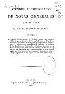 Apéndice al Diccionario de Notas Generales que se puso al fin del Nuevo Testamento