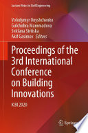 Proceedings of the 3rd International Conference on Building Innovations Book