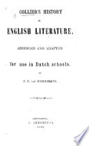 Collier s History of English Literature  abridged and adapted for use in Dutch schools by P  H  van Moerkerken