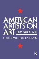 AMERICAN ARTISTS ON ART Book