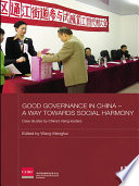 Good Governance in China - A Way Towards Social Harmony