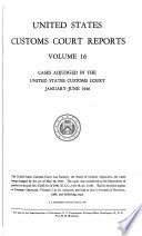 United States Customs Court Reports Book