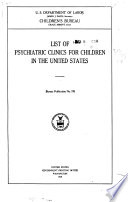 List of Psychiatric Clinics for Children in the United States