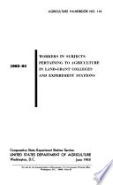 Workers in Subjects Pertaining to Agriculture in Land-grant Colleges and Experiment Stations