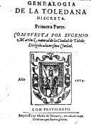 Genealogia de la Toledana Discreta. Primera Parte. [With the Autograph and MS. Note of R. Southey.].