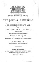 The Bombay Army List  Also Her Majesty s Indian Navy List  and the Bombay Civil List  Including the Ecclesiastical Establishment