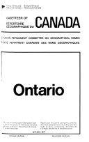 Gazetteer of Canada  Ontario  1974
