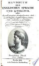 Handbuch der englischen Sprache und Literatur ...: Poetischer