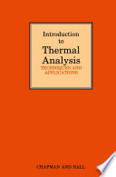 Introduction To Thermal Analysis Book PDF