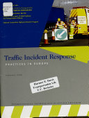 Traffic Incident Response Practices In Europe Book PDF