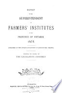 Annual Report of the Farmers  Institutes of the Province of Ontario Book