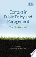 Context in Public Policy and Management  : The Missing Link?