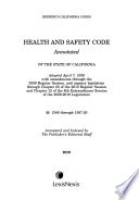 Health and Safety Code, Annotated, of the State of California
