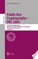 Public Key Cryptography Pkc 2003