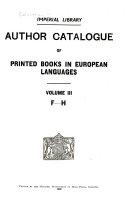 Author Catalogue Of Printed Books In European Languages